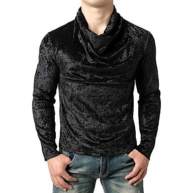 Majica s rukavima Muškarci - Aktivan / Ulični šik Dnevno / Vikend Pamuk Jednobojni Slim Plava / Dugih rukava