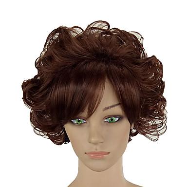 Parrucche sintetiche Riccio Parte di mezzo Parrucca Corto Marrone Capelli sintetici 12 pollice Per donna Soffice Resistente al calore Da donna Marrone hairjoy