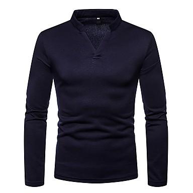 Majica s rukavima Muškarci - Osnovni Dnevno Jednobojni V izrez Tamno siva / Dugih rukava