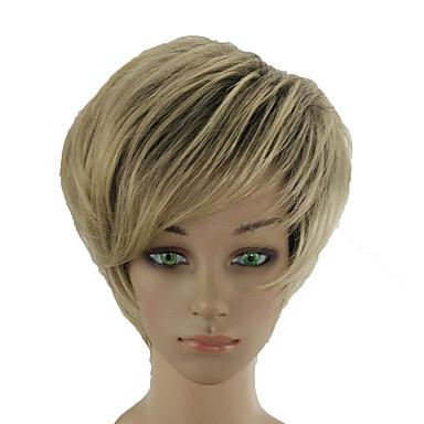 Sintetičke perike Ravan kroj Stepenasta frizura Perika Plavuša Kratko Tamno Ash Blonde Sintentička kosa 10 inch Žene Prilagodljiv Otporan na toplinu Žene Plavuša hairjoy