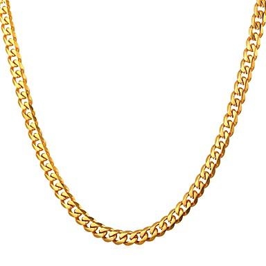 رجالي قلادات السلسلة ربط سلسلة سلسلة مربع سلسلة مارينر موضة الفولاذ المقاوم للصدأ ذهبي أسود فضي 55 cm قلادة مجوهرات 1PC من أجل هدية مناسب للبس اليومي
