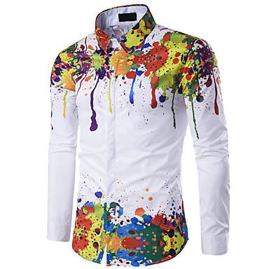 رخيصةأون قمصان رجالي-رجالي فينتاج قميص, قوس قزح نحيل / كم طويل / الربيع / الخريف / الشتاء