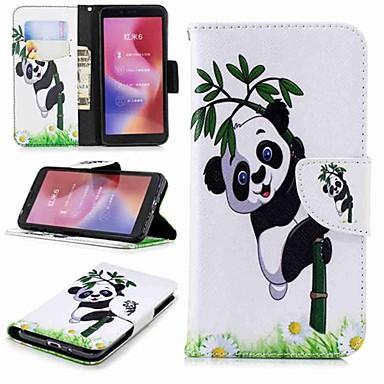 Недорогие Чехлы и кейсы для Xiaomi-Кейс для Назначение Xiaomi Xiaomi Redmi Note 5 Pro / Redmi 6A / Redmi 6 Кошелек / Бумажник для карт / со стендом Чехол Панда Твердый Кожа PU