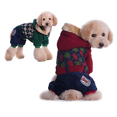 كلاب قطط المعاطف الشتاء ملابس الكلاب أخضر أحمر كوستيوم كلب البج Bichon فرايز أفطس قطن هندسي ستايل رياضي كاجوال / يومي S M L XL XXL