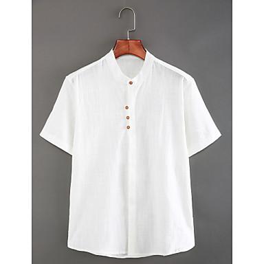 رخيصةأون قمصان رجالي-رجالي النمط الصيني أساسي كتان قميص, لون سادة رقبة طوقية مرتفعة نحيل / كم قصير / الصيف