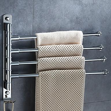 قضيب المنشفة تصميم جديد معاصر الفولاذ المقاوم للصدأ / الحديد 1PC شريط 4 منشفة مثبت على الحائط