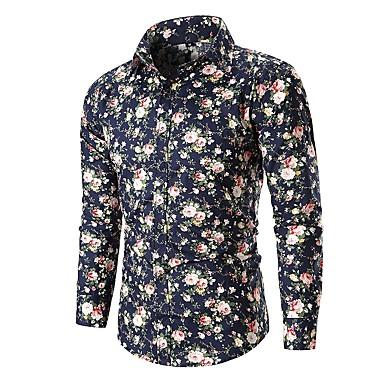 Majica Muškarci - Osnovni Dnevno Pamuk Cvjetni print Crn / Dugih rukava