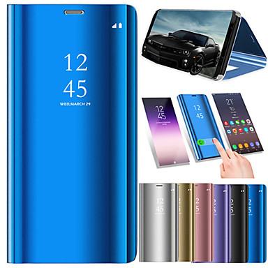 Недорогие Чехлы и кейсы для Galaxy Note 4-Кейс для Назначение SSamsung Galaxy Note 9 / Note 8 / Note 5 Покрытие / Зеркальная поверхность / Флип Чехол Однотонный Твердый Кожа PU