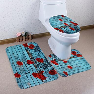3 komada Moderna Prostirke za kupaonicu 100g / m2 poliester Knit Stretch Geometrijski oblici Neregularan Kupaonica Protiv klizanja / Cool
