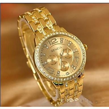رخيصةأون ساعات زوجين-نسائي الزوجين ساعة رياضية الماس ووتش ساعة ذهبية ياباني كوارتز فضة / ذهبي / ذهبي روزي ساعة كاجوال طرد كبير مماثل سيدات كاجوال موضة - ذهبي فضي ذهبي روزي