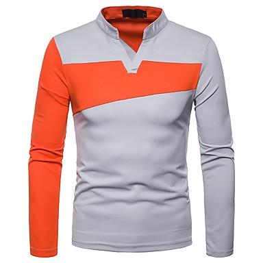 Majica s rukavima / Polo Muškarci Dnevno Color block V izrez Crn / Dugih rukava