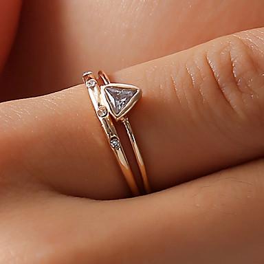 نسائي خاتم الذيل الدائري كريستال 2 ذهبي حجر الراين سبيكة مثلث سيدات بسيط الكورية مناسب للبس اليومي مناسب للخارج مجوهرات ستايل تريليون قطع خلاق جميل