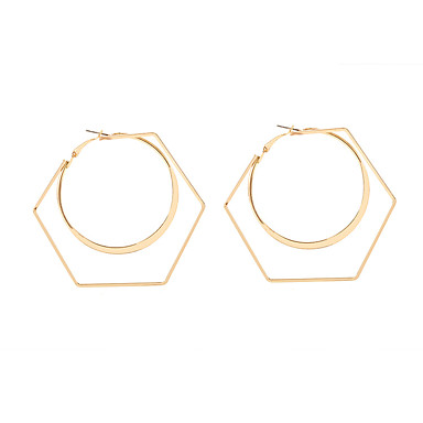 Žene Okrugle naušnice Geometrijski dame Jedinstven dizajn Europska Moda Naušnice Jewelry Zlato Za Kauzalni Ulica 1 par