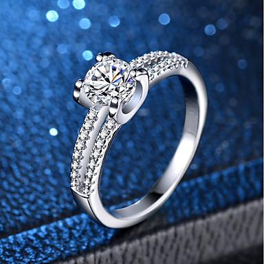 Žene Prsten Micro Pave Ring 1pc Srebro Kamen Platinum Plated Imitacija dijamanta Četiri drška dame Klasik Romantični Vjenčanje Angažman Jewelry Klasičan simuliran Ljubav Lijep