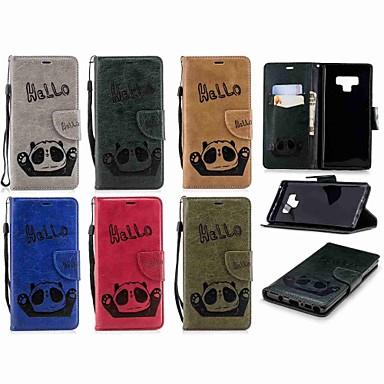 Недорогие Чехлы и кейсы для Galaxy Note-Кейс для Назначение SSamsung Galaxy Note 9 / Note 8 Кошелек / Бумажник для карт / Флип Чехол Панда Твердый Кожа PU