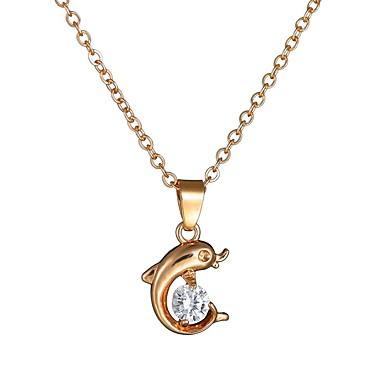 Žene Kubični Zirconia Charm Necklace Sa stilom Jedna vrpca Dupin dame Romantični Slatka Style Imitacija dijamanta Legura Zlato 40+4.5 cm Ogrlice Jewelry 1pc Za Spoj Izlasci
