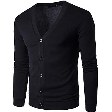 Muškarci Dnevno Jednobojni Dugih rukava Regularna Kardigan Džemper od džempera, V izrez Crn / Svjetlosmeđ / Obala S / M / L
