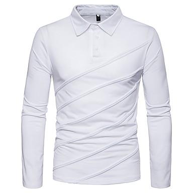 رخيصةأون بولو رجالي-رجالي بولو ستايل, لون سادة قبعة القميص / كم طويل
