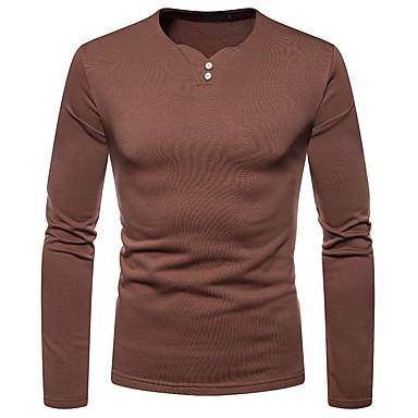 Majica s rukavima Muškarci - Osnovni Dnevno Jednobojni V izrez Braon / Dugih rukava