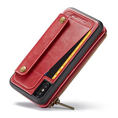 Недорогие Кейсы для iPhone 6 Plus-CaseMe Кейс для Назначение Apple iPhone X Кошелек / Бумажник для карт / Флип Чехол Однотонный Твердый Кожа PU для iPhone X / iPhone 8 Pluss / iPhone 8