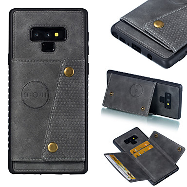 voordelige Galaxy S-serie hoesjes / covers-hoesje Voor Samsung Galaxy S9 / S9 Plus / S8 Plus Kaarthouder / Schokbestendig Achterkant Effen Hard PU-nahka