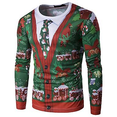 رخيصةأون تيشيرتات وتانك توب رجالي-رجالي عيد الميلاد تيشرت, ندفة ثلجية رقبة دائرية ثلج / كم طويل / الخريف / الشتاء