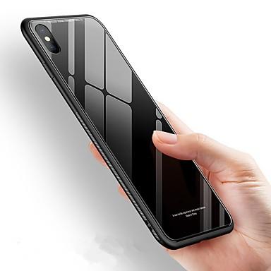 غطاء من أجل Apple iPhone X / iPhone 8 Plus / iPhone 8 ضد الصدمات / مرآة غطاء خلفي لون سادة قاسي زجاج مقوى