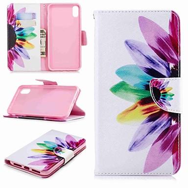 غطاء من أجل Apple iPhone XS / iPhone XR / iPhone XS Max محفظة / حامل البطاقات / مع حامل غطاء كامل للجسم زهور قاسي جلد PU