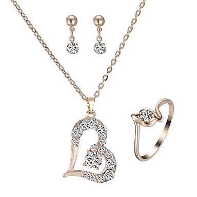 Žene Sitne naušnice Ogrlica Prsten Klasičan Srce Šuplje srce dame Stilski Klasik Imitacija dijamanta Naušnice Jewelry Zlato Za Dnevno