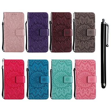 Недорогие Чехлы и кейсы для LG-Кейс для Назначение LG LG X Power / LG V30 / LG V20 Кошелек / Бумажник для карт / со стендом Чехол Цветы Твердый Кожа PU