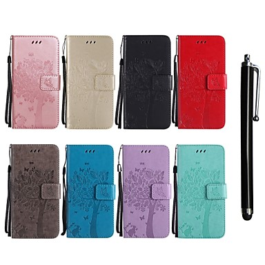 Недорогие Чехлы и кейсы для LG-Кейс для Назначение LG LG X Power / LG V30 / LG V20 Кошелек / Бумажник для карт / со стендом Чехол Кот / дерево Твердый Кожа PU
