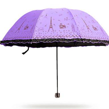 قماش / ستانلس ستيل للمرأة مشمس وممطر مظلة ملطية