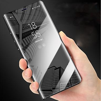Недорогие Чехлы и кейсы для Galaxy Note-Кейс для Назначение SSamsung Galaxy Note 9 / Note 8 со стендом / Зеркальная поверхность / Флип Чехол Однотонный Твердый Кожа PU
