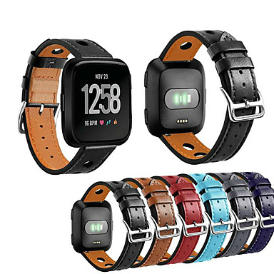 رخيصةأون أساور ساعات FitBit-حزام إلى Fitbit Versa فيتبيت عقدة جلدية جلد طبيعي شريط المعصم