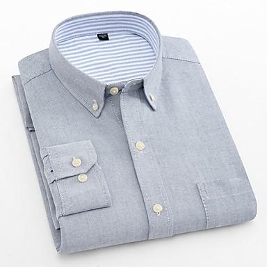 رخيصةأون قمصان رجالي-رجالي عمل الأعمال التجارية / أساسي قياس كبير - قطن قميص, لون سادة نحيل / كم طويل