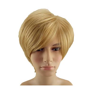 Sintetičke perike Ravan kroj Pixie frizura Perika Plavuša Kratko Rose Gold Sintentička kosa 10 inch Muškarci Nježno Otporan na toplinu sintetički Plavuša hairjoy
