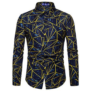 Majica Muškarci - Osnovni / Ulični šik Dnevno / Vikend Geometrijski oblici Široki ovratnik Slim, Print Red / Dugih rukava / Proljeće / Jesen