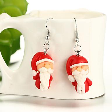 Djevojčice Viseće naušnice Santa dame Crtići Moda Slatka Style Kći Smola Naušnice Jewelry Crvena Za Božić 1 par