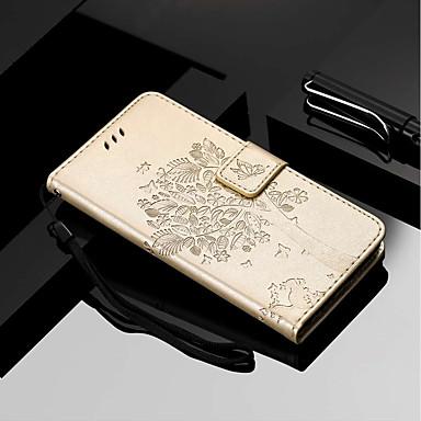 Недорогие Чехлы и кейсы для Motorola-Кейс для Назначение Motorola MOTO G6 / Moto G6 Plus / Moto E5 Plus Кошелек / Бумажник для карт / со стендом Чехол Кот / дерево Твердый Кожа PU