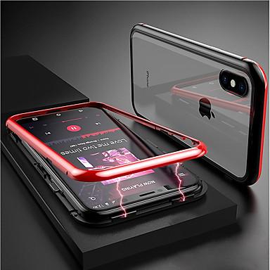 Недорогие Кейсы для iPhone 7 Plus-Кейс для Назначение Apple iPhone XS / iPhone XR / iPhone XS Max Прозрачный / Магнитный Чехол Однотонный Твердый Закаленное стекло