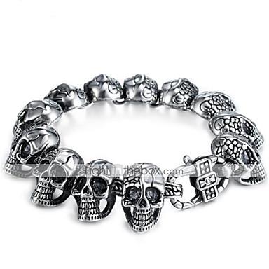 ieftine Brățări-Bărbați Brățări cu Lanț & Legături Bratari Vintage Stil Vintage #D Craniu Vintage Punk silicagel Bijuterii brățară Negru Pentru Halloween Stradă / Oțel titan
