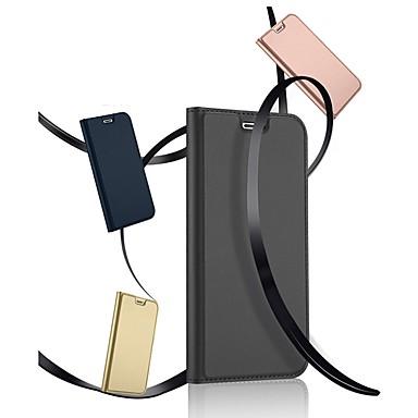 Недорогие Кейсы для iPhone-Кейс для Назначение Apple iPhone X / iPhone 8 Pluss / iPhone 8 Бумажник для карт / со стендом / Флип Чехол Однотонный Твердый Кожа PU