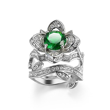 Žene Prsten Belle Ring Kubični Zirconia 1pc Obala Zelen Kamen Umjetno drago kamenje dame Stilski Klasik Dnevno Jewelry Klasičan asfaltirati Cvijet
