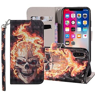 رخيصةأون أغطية أيفون-غطاء من أجل Apple iPhone XS / iPhone XR / iPhone XS Max محفظة / حامل البطاقات / مع حامل غطاء كامل للجسم جماجم قاسي جلد PU