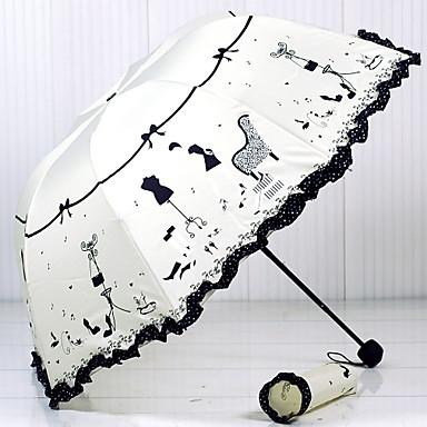 قماش / ستانلس ستيل للمرأة مشمس وممطر / تصميم جديد مظلة ملطية