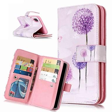 Недорогие Кейсы для iPhone X-Кейс для Назначение Apple iPhone XS / iPhone XR / iPhone XS Max Кошелек / Бумажник для карт / со стендом Чехол одуванчик / Цветы Твердый Кожа PU