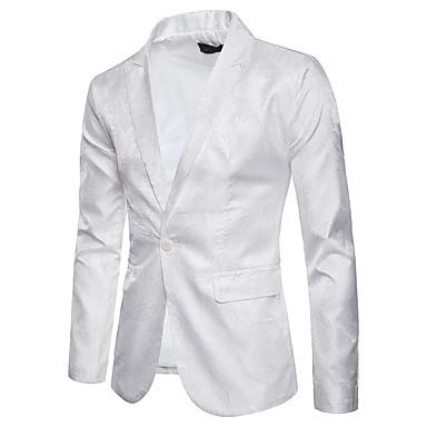 رخيصةأون سترات و بدلات الرجال-رجالي أسود أبيض أرجواني M L XL سترة راقي لون سادة / ورد نحيل مناسب للحفلات / كم طويل / الربيع / الخريف