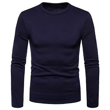 Majica s rukavima Muškarci - Osnovni Dnevno Pamuk Jednobojni Okrugli izrez Slim Navy Plava / Dugih rukava
