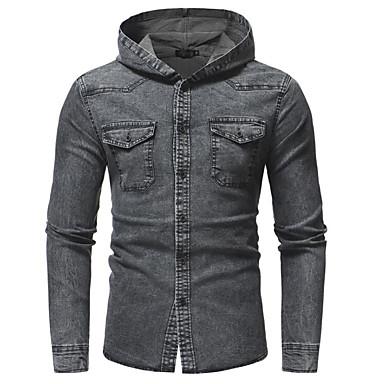 Majica Muškarci Izlasci Jednobojni S kapuljačom Slim Plava / Dugih rukava