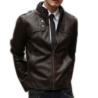 رجالي مناسب للبس اليومي أساسي الشتاء / خريف & شتاء عادية جواكيت جلد, لون سادة مرتفعة كم طويل PU بني / أسود / بني فاتح
